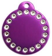 Purple Crystal Disc Dog ID Tag