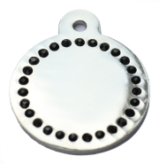 Silver Disc Black Diamonds Champion Pet ID Tag