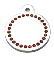 Wholesale Large Red Diamonds Silver Disc Dog ID Tags x10 Pack