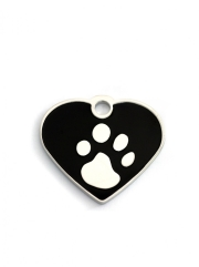 Small Black Heart Elegance Dog ID Tags