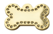 Gold Bone Clear Diamonds Champion Pet ID Tags