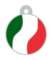 Italy Flag Large Disc Dog ID Tag