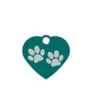 Wholesale Small Heart Two Paws Pink Dog ID Tags x10 Pack