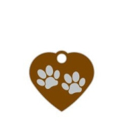 Wholesale Small Heart Two Paws Green Dog ID Tags x10 Pack
