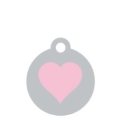 Small Silver Disc Pink Heart Pet ID Tag