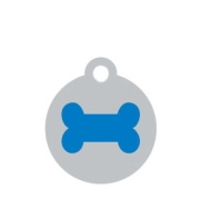 Small Silver Disc Blue Bone Pet ID Tag
