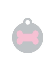 Small Silver Disc Pink Bone Pet ID Tag