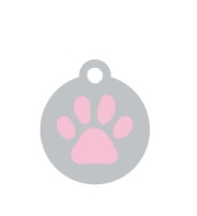 Wholesale Small Silver Disc And Pink Paw x10 Pack
