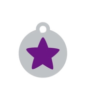 Small Silver Disc Purple Star Pet ID Tag
