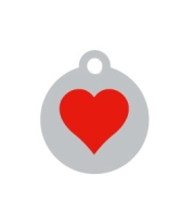 Small Silver Disc Red Heart Pet ID Tag