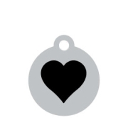 Small Silver Disc Black Heart Pet ID Tag