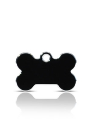 Small Black Bone Pet Name ID Tags Hi Line