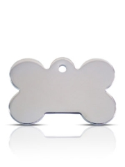 Large Silver Bone Prestige Pet ID Tags For Dogs