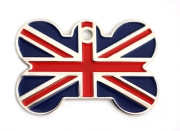 Wholesale Flag Tag Union Jack Small Bone Dog ID Tags x10 Pack