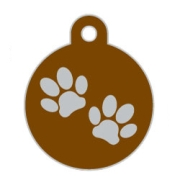 Wholesale Large Disc Two Paws Green Dog ID Tags x10 Pack