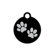 Black Small Disc Two Paws Supreme Range Dog ID Tag