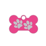 Wholesale Small Bone Two Paws Red Dog ID Tags x10 Pack
