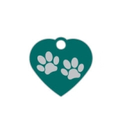 Green Small Heart Two Paws Supreme Range Dog ID Tag