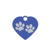 Blue Small Heart Two Paws Supreme Range Dog ID Tag
