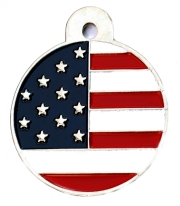 Large Usa American Flag Disc Dog Name ID Tags