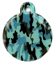 Camo Army Blue Large Disc Dog ID Tag