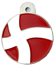 Denmark Flag Large Disc Dog ID Tag