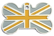 Gold And Silver Union Jack Flag ID Tag