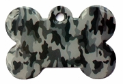 Camo Army Grey Bone Dog ID Tag