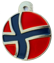 Norway Flag Large Disc Dog ID Tag