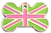 Pink And Green Union Jack Large Bone Dog ID Tag