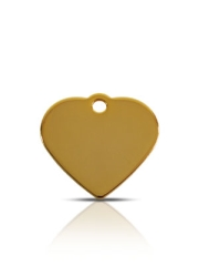 Brass Dog ID Tag Small Heart