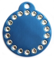 Blue Disc Crystal Dog ID Tag