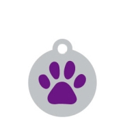 Small Silver Disc And Purple Dog Paw ID Tag