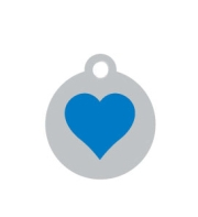 Small Silver Disc Blue Heart Pet ID Tag